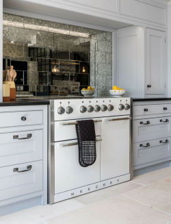 Rococo Mirror effect tiles feature kitchen splash back