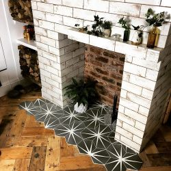 Lily Pad Clay Encaustic Tiles. Sian Astley fireplace