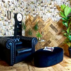 Sian Astley living space with herringbone flooring